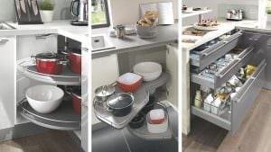 Unterschränke mit verschiedenen Drehböden und Auszügen sind für eine behindertengerechte Küche i. d. Regel gut geeignet.