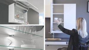 Glasböden für die Einsicht von unten, Lifttür, diagonal absenkbarer Oberschrank