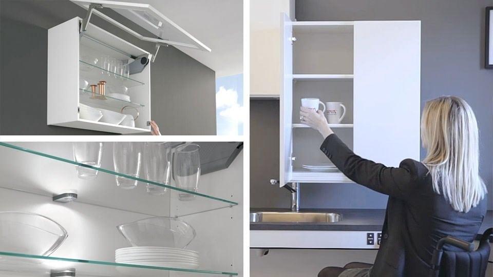 Glasböden für die einsicht von unten lifttür diagonal absenkbarer oberschrank