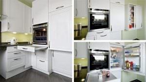 Backofen mit einschiebbarer Backofentür und darunterliegendem Auszug. Kühlschrank auf Nutzerhöhe.