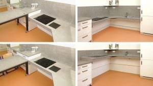 Unterfahrbare höhenverstellbare Arbeitsplatte über Eck mit Kochen, Vorbereiten und Spülen