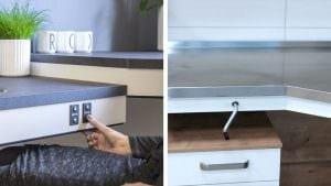 Bedienung der Arbeitsplattenlifte per Knopfdruck oder mit abziehbarer Handkurbel