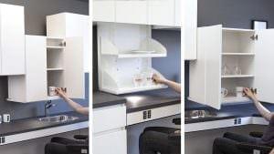 Es gibt verschiedene Liftsysteme für absenkbare Oberschränke. VertiElectric, VertiInside und DiagonalElectric