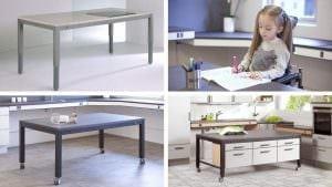 """""""4-Single"""": der ideale Tisch für Rollstuhlfahrer. Sondernutzungen, wie zum Beispiel untergebaute Schränke sind auch möglich."""